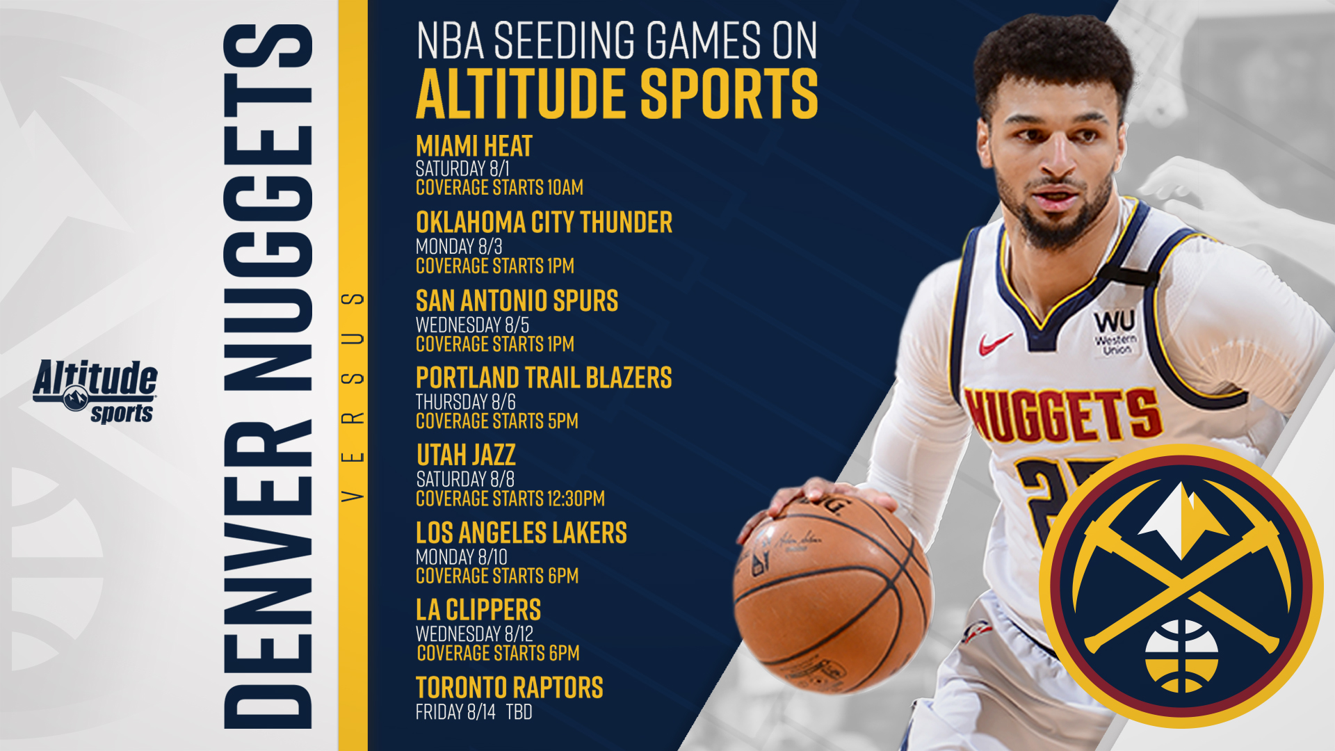Nuggets 2019 20 Re Start Broadcast Schedule Altitude Sports